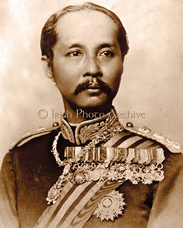 Chulalongkorn or Rama V (20 September 1853 – 23 October 1910) was the fifth monarch of Siam under the House of Chakri. reigned 1 October 1868 – 23 October 1910. considered one of the greatest kings of Siam. His reign was characterized by the modernization of Siam, immense government and social reforms, and territorial cessions to the British Empire and French Indochina.