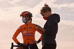 Lonneke Uneken (NED) waits for the race to get underway at the 2020 UEC Road European Championships - Under 23 Women Road Race, a 81.9 km road race in Plouay, France on August 26, 2020. Photo by Sean Robinson/velofocus.com