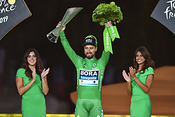 July 28, 2019, Paris, France: Slovakian Peter Sagan of Bora-Hansgrohe wearing the green jersey celebrates on the podium of the final stage of the 106th edition of the Tour de France cycling race, from Rambouillet to Paris Champs-Elysees (128km), France, Sunday 28 July 2019. This year's Tour de France starts in Brussels and takes place from July 6th to July 28th. (Credit Image: © David Stockman/Belga via ZUMA Press)