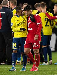 Kevin Mensah (Brøndby IF) og Rezan Corlu (Lyngby BK) efter kampen i 3F Superligaen mellem Brøndby IF og Lyngby Boldklub den 1. marts 2020 på Brøndby Stadion (Foto: Claus Birch).