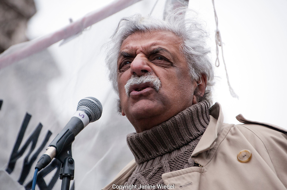 Taraq Ali speaking at Don't Attack Syria anti-war protest and march outside Downing Street London by Stop the War Nov 28th 2015Pakestan