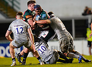 Sale Sharks flanker Jono Ross and Sale Sharks fly-half AJ McGinty team up to tackle Leicester Tigers wing Nemani Nadolo during a Gallagher Premiership Round 7 Rugby Union match, Friday, Jan. 29, 2021, in Leicester, United Kingdom. (Steve Flynn/Image of Sport)