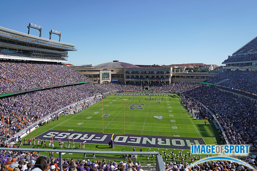 Amon G Carter Stadium during a Big 12 Conference college football game between TCU Horned Frogs and Texas Longhorns, Saturday, Oct. 26, 2019, in Fort. Worth, Tex. TCU defeated Texas 37-27. (Wayne Gooden/Image of Sport)