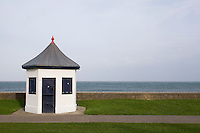 Victorian kiosk on the seafront in wintertime at the seaside town of Bray in Wicklow Ireland