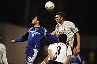 Photo: Rich Eaton.<br /> <br /> Cardiff City v Tottenham Hotspur. The FA Cup. 07/01/2007. Steve Thompson left of Cardiff jumps with Calum Davenport of Spurs
