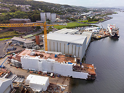 Port Glasgow, Scotland, UK. 21st September 2021. Aerial view of Glen Sannox ferry and Hull 802 at Ferguson Marine shipyard on lower River Clyde at Port Glasgow, Inverclyde. Iain Masterton/Alamy Live News.