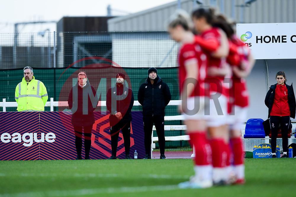 Bristol City Women line up for a minute silence in memory of Benik Afobe's daughter Amora - Mandatory by-line: Ryan Hiscott/JMP - 08/12/2019 - FOOTBALL - Stoke Gifford Stadium - Bristol, England - Bristol City Women v Birmingham City Women - Barclays FA Women's Super League