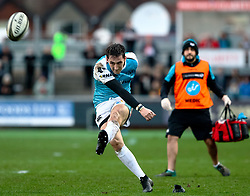 Sam Davies of Ospreys kicks a penalty<br /> <br /> Photographer Simon King/Replay Images<br /> <br /> Guinness PRO14 Round 12 - Dragons v Ospreys - Sunday 30th December 2018 - Rodney Parade - Newport<br /> <br /> World Copyright © Replay Images . All rights reserved. info@replayimages.co.uk - http://replayimages.co.uk