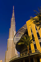The Dubai Mall with the Burj Khalifa (tallest building in the world) in back, Dubai, United Arab Emirates