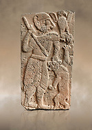 Pictures & images of the North Gate Hittite sculpture stele depicting Hittite God hunting a lion. 8th century BC. Karatepe Aslantas Open-Air Museum (Karatepe-Aslantaş Açık Hava Müzesi), Osmaniye Province, Turkey. Against art background