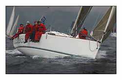 Bell Lawrie Series Tarbert Loch Fyne - Yachting.The first day's inshore races...Donald Sharp's Seaquest 36, Tundra GBR4072C  at a wet windward mark..
