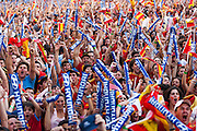 Large group of fans in a first goal of match