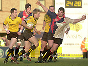 Wycombe, Buckinghamshire, 29th February 2004, Adams Park, [Mandatory Credit; Peter Spurrier/Intersport Images],<br /> 29/02/2004  -  Powergen  Cup - London Wasps v Pertemps Bees<br /> Stuart Abbot, running with the ball