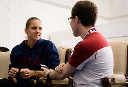 February 11, 2019 - Doha, Spain - Karolina Pliskova of the Czech Republic talks to the media during the All Access Hour ahead of the 2019 Qatar Total Open WTA Premier tennis tournament (Credit Image: © AFP7 via ZUMA Wire)