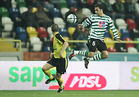 """PORTUGAL - AVEIRO 21 NOVEMBER 2004: (L to R) PAUL MURRAY #7 and CARLOS MARTINS #5 in the 11¼ leg of the Super Liga, season 2004/2005, match  SC Beira Mar vs Sporting CP (2-2), held in """"Mario Duarte"""" stadium,  21/11/2004  01:26:16<br />(PHOTO BY: NUNO ALEGRIA/AFCD)<br /><br />PORTUGAL OUT, PARTNER COUNTRY ONLY, ARCHIVE OUT, EDITORIAL USE ONLY, CREDIT LINE IS MANDATORY AFCD-PHOTO AGENCY 2004 © ALL RIGHTS RESERVED"""