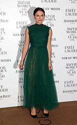 Keira Knightley arrives at Claridge's Hotel in London to attend the Harper's Bazaar Women of the Year Awards.