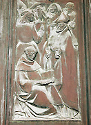 An engraving depicting people, monks and the Pope at the Duomo di Siena, Cathedral of Siena, Tuscany, Italy