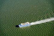 Nederland, Friesland, Vlieland, 28-02-2016; MS Vlieland onderweg naar het gelijknamige eiland.<br /> Veerboot van Rederij Doeksen, veerdienst tussen het waddeneiland Vlieland en Harlingen.<br /> Ferry on its way to Wadden island Vlieland.<br /> <br /> luchtfoto (toeslag op standard tarieven);<br /> aerial photo (additional fee required);<br /> copyright foto/photo Siebe Swart