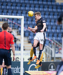 Falkirk's Paul Watson scoring their first goal. <br /> half time : Falkirk 2 v 0 Alloa Athletic, Scottish Championship game played 5/3/2016 at The Falkirk Stadium.