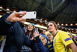 November 20, 2018 - Stockholm, Sweden - 181120 Kristoffer Olsson of Sweden takes selfies with supporters after the Nations League football match between Sweden and Russia on November 20, 2018 in Stockholm..Photo: Petter Arvidson / BILDBYRN / kod PA / 87811 (Credit Image: © Petter Arvidson/Bildbyran via ZUMA Press)