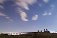 Salisbury Mills - Clouds move across the starry sky over the Moodna Viaduct railroad trestle on Oct. 8, 2014.