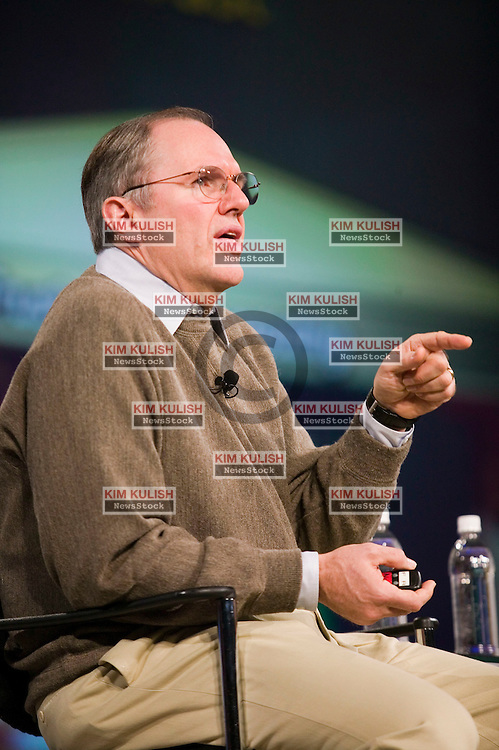 Microsoft Chief Research and Strategy Officer Craig Mundie makes a point during his keynote with Bill Gates at the RSA Conference 2007 in San Francisco, February 6, 2007. During the keynote, Gates and Mundie discussed how the industry can further advance efforts around trustworthy computing in order to enable people to access, share and use corporate and personal information without fear is will be compromised, stolen or exploited..Photo by Kim Kulish