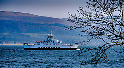 The Calmac ferry 'Loch Shira' making the short crossing from Largs on the Scottish mainland to the island of Great Cumbrae of the west coast of Scotland. <br /> <br /> (c) Andrew Wilson   Edinburgh Elite media