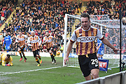 Bradford City defender Anthony McMahon (29) celebrates scoring goal to go  2-1 up during the EFL Sky Bet League 1 match between Bradford City and Gillingham at the Coral Windows Stadium, Bradford, England on 4 February 2017. Photo by Ian Lyall.
