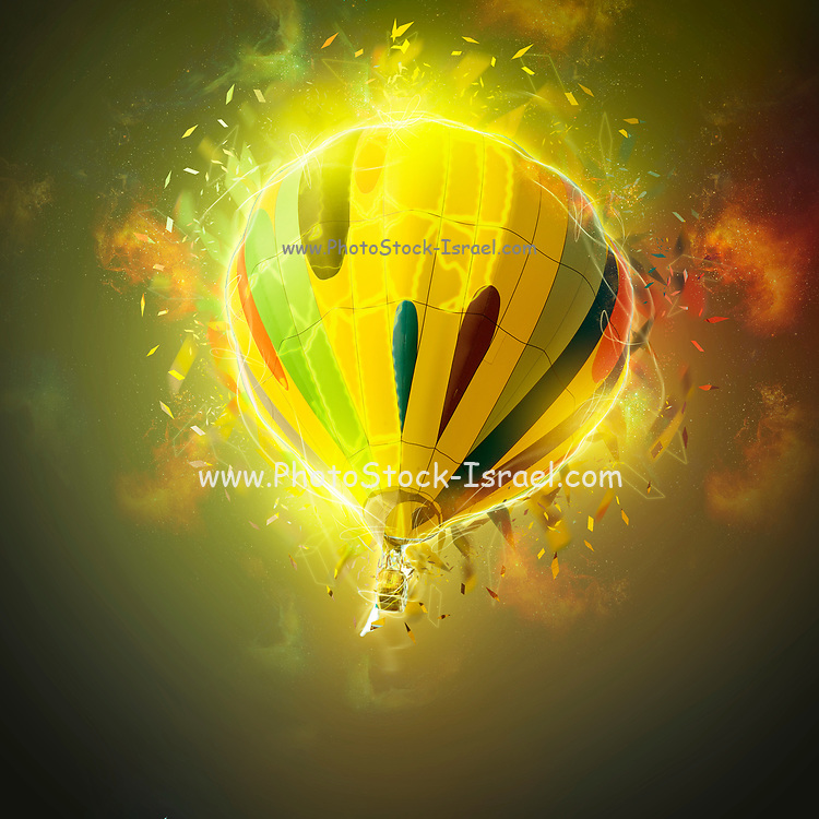 Digitally enhanced image of a floating hot air balloon