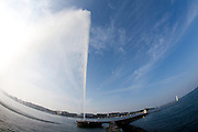 Geneva, Switzerland. October 12th 2010..The Jet d'Eau fountain of Geneva.