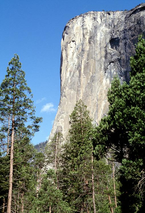 Profile view of El Capitan with blue sky, Yosemite National Park, CA