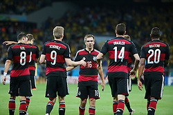 08.07.2014, Mineirao, Belo Horizonte, BRA, FIFA WM, Brasilien vs Deutschland, Halbfinale, im Bild vl. Mesut Oezil, Andre Schuerrle, Philipp Lahm Julian Draxler und Jerome Boateng (GER) // during Semi Final match between Brasil and Germany of the FIFA Worldcup Brazil 2014 at the Mineirao in Belo Horizonte, Brazil on 2014/07/08. EXPA Pictures © 2014, PhotoCredit: EXPA/ Eibner-Pressefoto/ Cezaro<br /> <br /> *****ATTENTION - OUT of GER*****