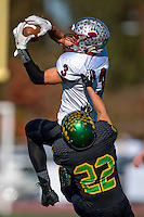 Bear River Bruin's Dave Mastrella (3), catches the ball as Sonora High School Wildcat's Jesus Rodriguez (22), defends during the first quarter of the Division V Sac-Joaquin Section final football game played at Elk Grove High School, Saturday Nov 28, 2015.<br /> Brian Baer/Special to the Bee