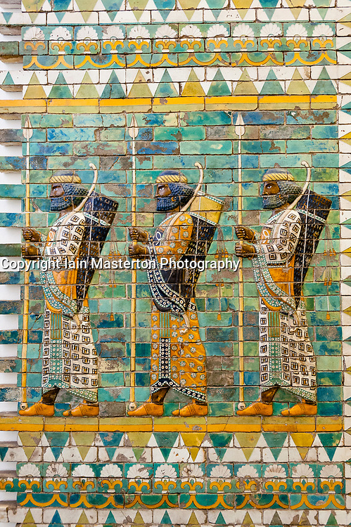 Museum Island, Pergamon Museum Ancient Assyrian ceramic frieze in Germany, Berlin