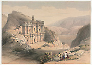 El Deir Petra 1839 Color lithograph by David Roberts (1796-1864). An engraving reprint by Louis Haghe was published in a the book 'The Holy Land, Syria, Idumea, Arabia, Egypt and Nubia. in 1855 by D. Appleton & Co., 346 & 348 Broadway in New York.
