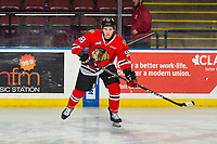 KELOWNA, BC - MARCH 03:  Clay Hanus #58 of the Portland Winterhawks warms up against the Kelowna Rockets at Prospera Place on March 3, 2019 in Kelowna, Canada. (Photo by Marissa Baecker/Getty Images)