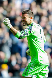 Ben Foster (ENG) of West Brom celebrates his sides first goal in the opening few minutes of the match - Photo mandatory by-line: Rogan Thomson/JMP - 07966 386802 - 12/04/2014 - SPORT - FOOTBALL - The Hawthorns Stadium - West Bromwich Albion v Tottenham Hotspur - Barclays Premier League.