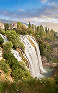 Pictures & Images of the Tortum Water Falls, Coruh Valley, Erzurum in the Eastern Anatolia, Turkey.<br /> <br /> The Tortum water falls are the largest in turkey with a drop of 164 feet (50 m) and 15 meters wide. Geologists believe they were formed in the Quaternary period by a massive landslide which blocked the deep steep sided Tortum Valley. This resulted in the formation of Tortum Lake which is 8 km long, 1 km wide and 100 meters deep. .<br /> <br /> If you prefer to buy from our ALAMY PHOTO LIBRARY  Collection visit : https://www.alamy.com/portfolio/paul-williams-funkystock/tortum-falls-turkey.html<br /> <br /> Visit our TURKEY PHOTO COLLECTIONS for more photos to download or buy as wall art prints https://funkystock.photoshelter.com/gallery-collection/3f-Pictures-of-Turkey-Turkey-Photos-Images-Fotos/C0000U.hJWkZxAbg