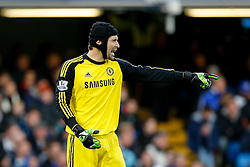 Petr Cech of Chelsea points - Photo mandatory by-line: Rogan Thomson/JMP - 07966 386802 - 13/12/2014 - SPORT - FOOTBALL - London, England - Stamford Bridge - Chelsea v Hull City - Barclays Premier League.