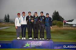 The three medal winning teams, France, Sweden and Great Britain following the medal presentation during day eleven of the 2018 European Championships at Gleneagles PGA Centenary Course. PRESS ASSOCIATION Photo. Picture date: Sunday August 12, 2018. See PA story GOLF European. Photo credit should read: Kenny Smith/PA Wire. RESTRICTIONS: Editorial use only, no commercial use without prior permission