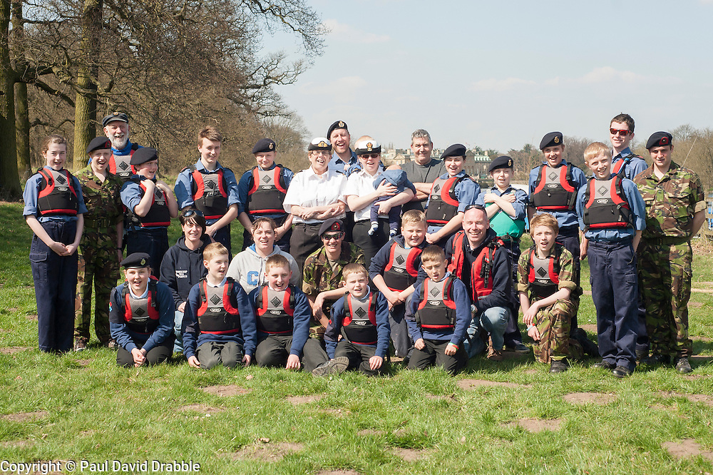 Worksop Sea Cadets and Royal Marines Cadets from TS Bentinck who took part in a row-a-thon up and down Welbeck Lake, as part of a national fund raising campaign to build a new ship to replace the charity's iconic flagship, TS Royalist now over 40 years old..20 April  2013.Image © Paul David Drabble