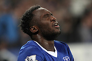Romelu Lukaku of Everton looks on in agony after getting injured after scoring his teams 2nd goal. Capital one cup semi final 1st leg match, Everton v Manchester city at Goodison Park in Liverpool on Wednesday 6th January 2016.<br /> pic by Chris Stading, Andrew Orchard sports photography.