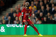 Liverpool midfielder Naby Keïta (8) eyes a high ball during the EFL Cup match between Milton Keynes Dons and Liverpool at stadium:mk, Milton Keynes, England on 25 September 2019.