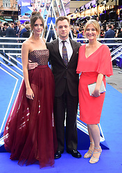 Emily Thomas, Taron Egerton and Christine Egerton attending the Rocketman UK Premiere, at the Odeon Luxe, Leicester Square, London.