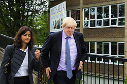 Michaela Community School, Wembley, London, June 23rd 2015. Mayor of London Boris Johnson visits the Michaela Community School, a Free School in Wembley that started taking students in September2014 after battling a certain amount of resistance from locals and unions. During the visit Head Teacher Katharine Birbalsingh took the Mayor on a tour of the school before he participated in a history lesson, prior to sitting down with pupils for brunch. PICTURED: Mayor of London Boris Johnson arrives at Michaela Community School