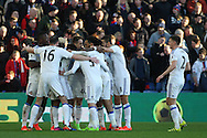 Didier Ndong of Sunderland celebrates with his teammates after scoring his teams second goal. Premier League match, Crystal Palace v Sunderland at Selhurst Park in London on Saturday 4th February 2017. pic by Steffan Bowen, Andrew Orchard sports photography.