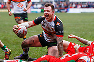 Bradford Bulls interchange George Flanagan (21) scores a try and celebrates during the Betfred League 1 match between Keighley Cougars and Bradford Bulls at Cougar Park, Keighley, United Kingdom on 11 March 2018. Picture by Simon Davies.
