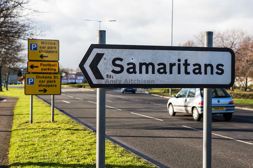 A sign for the Samaritans, Peterborough, Cambridgeshire. UK