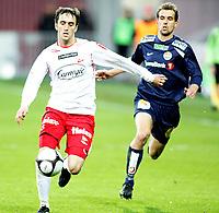 Fotball , <br /> Tippeligaen ,   <br /> 22.03.09 , <br /> Fredrikstad stadion , <br /> Fredrikstad FFK - Strømsgodset , <br /> Agim Shabani i duell med Joel Riddez , <br /> Foto: Thomas Andersen / Digitalsport