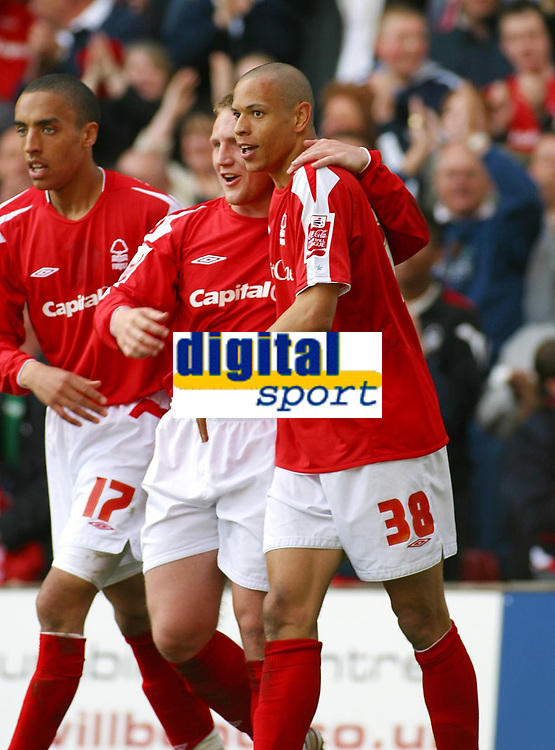 Photo: Dave Linney.<br />Nottingham Forest v Bournemouth. Coca Cola League 1. 29/04/2006Forest's.Nathan Tyson(R) is congratulated by  Kris Commons after making it 1-1